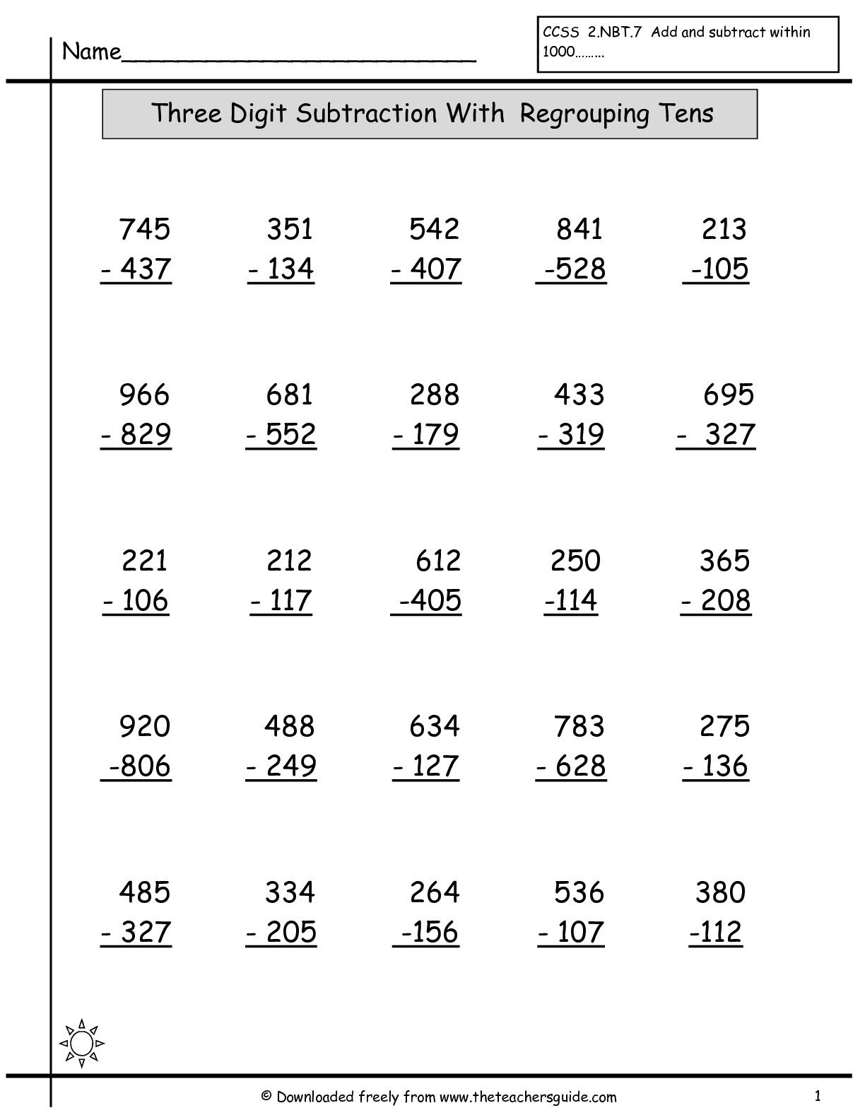 Three Digit Subtraction Worksheet