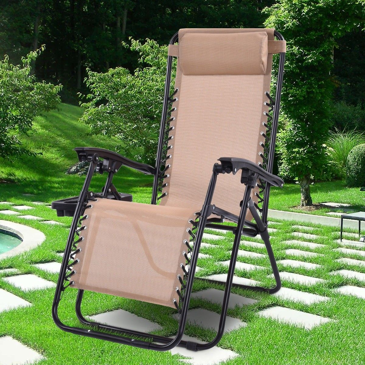 Outdoor Folding Zero Gravity Reclining Lounge Chair Outdoor Chairs Lounge Chair Outdoor Zero Gravity Chair