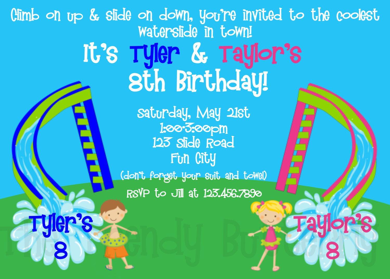 Waterslide Twins Siblings Birthday Party Invitation | Siblings, Boy ...