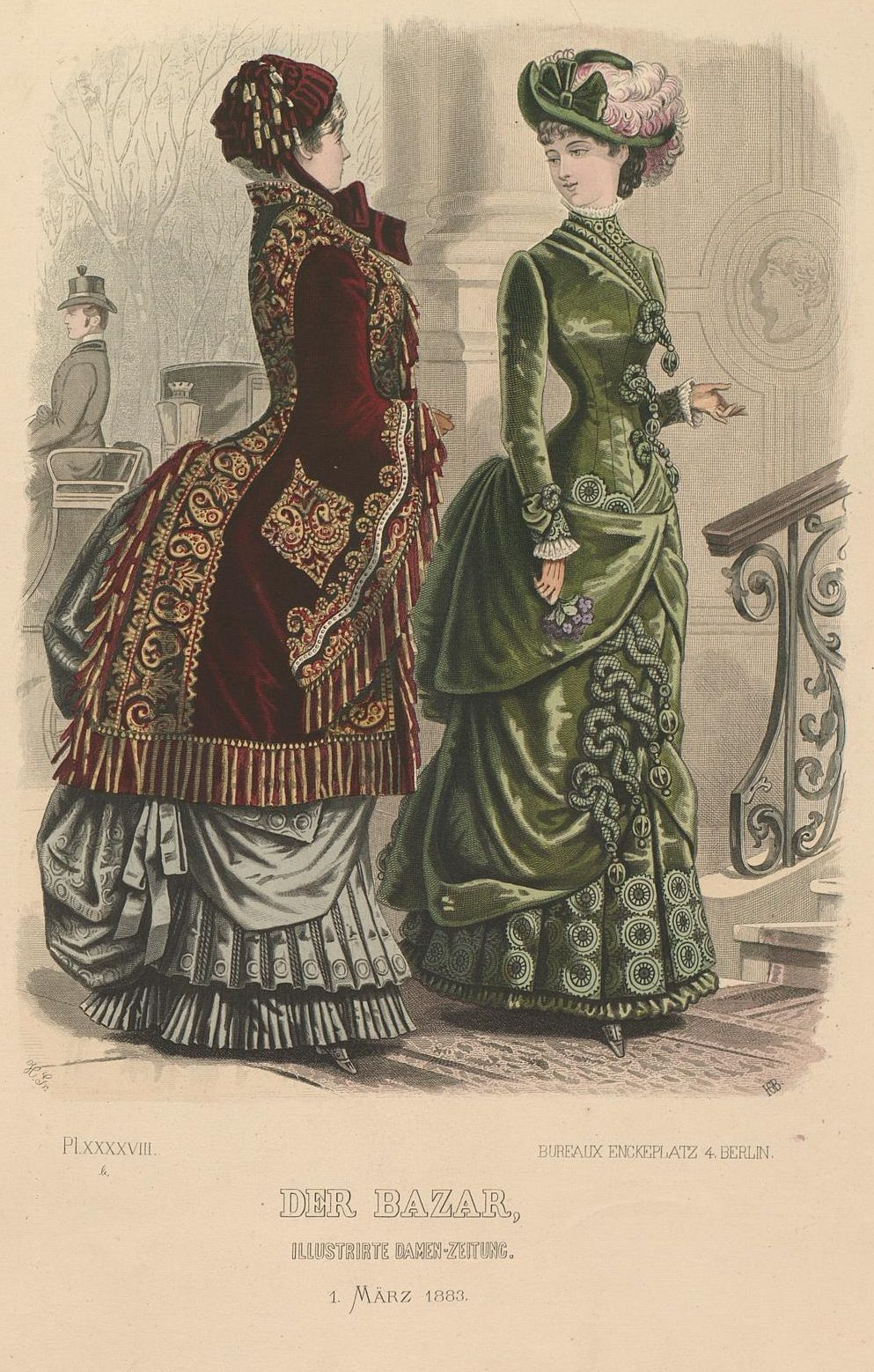 Der Bazar 1883 - check out the details on the green dress ...
