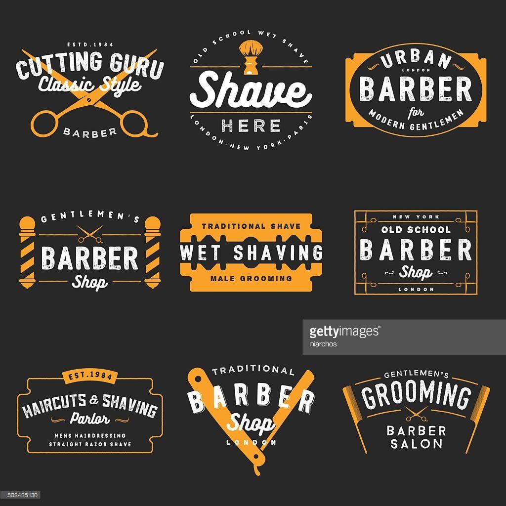 100 Vector Set Of Vintage Barber Shop Emblems Barber Shop Names Barber Shop Vintage Barber