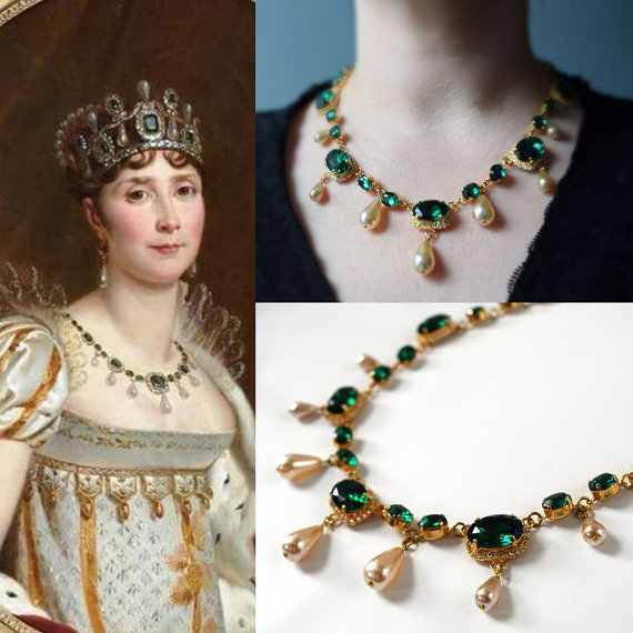 Replica Emerald And Pearl Necklace Worn By Empress