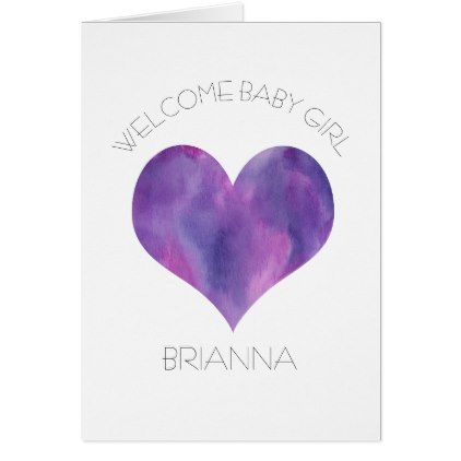 Personalized baby girl card purple heart baby gifts child new personalized baby girl card purple heart baby gifts child new born gift idea diy negle Choice Image