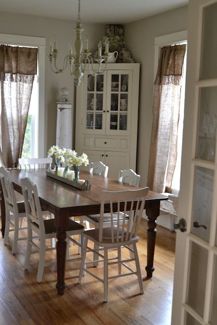 Faded Charm: ~Dining Room Delights~  I adore this dining room! Loving the burlap curtains & the corner cabinet. Oh heck, all of it!