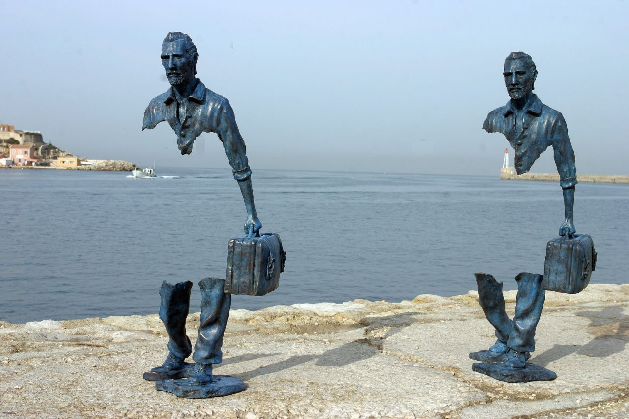 Les Voyageurs, by French artist Bruno Catalano, in Marseilles, France is a  sculpture meant to evoke memories and parts … | Public sculpture, Surreal  art, Public art