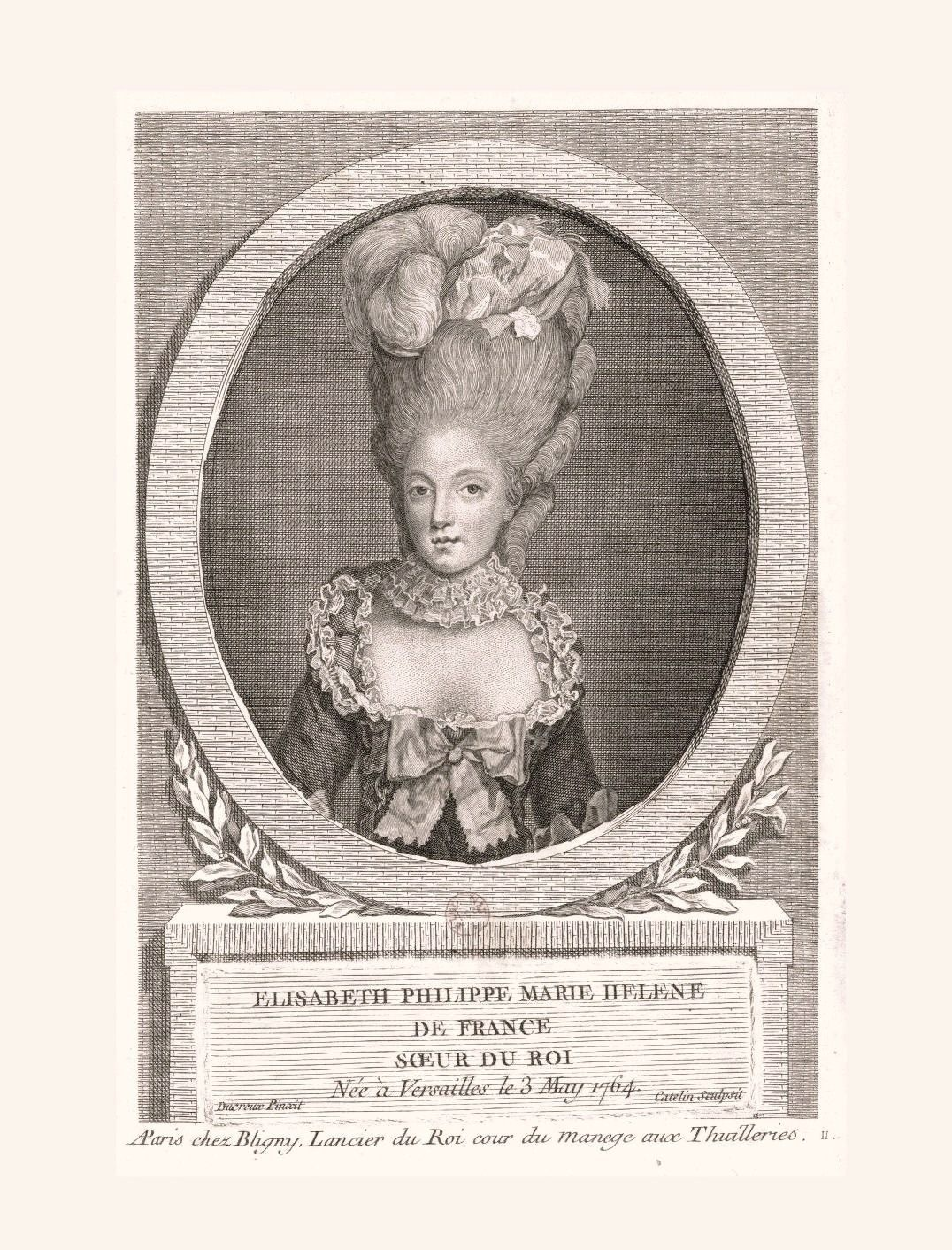 """Cathelin et Ducreux, """"Elisabeth de France, soeur du roi"""". Paris, musée Carnavalet. Élisabeth Philippine Marie Hélène de France, called Madame Elizabeth, was born May 3, 1764 at Versailles. Sister to Louis XVI, orphaned at the age of three, she received an excellent education and was distinguished by her talents in mathematics and science.  In 1783, Louis XVI gave her land and a house in the village of Montreuil, that remains today in the district of Montreuil at Versailles under ..."""