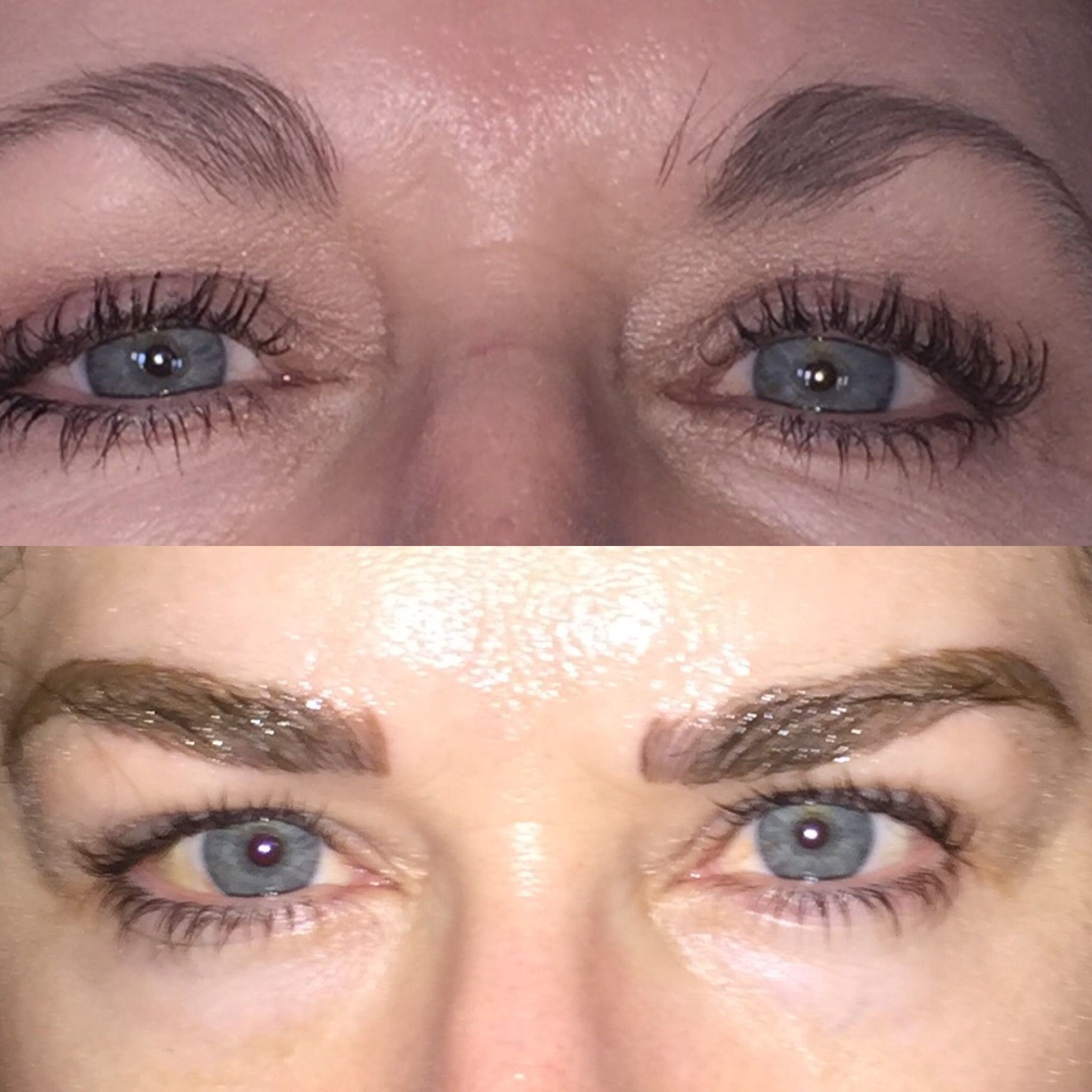 The Before And Morning After Microblading Picture Still Laying On My Pillow Microblading Eyebrows Pictures