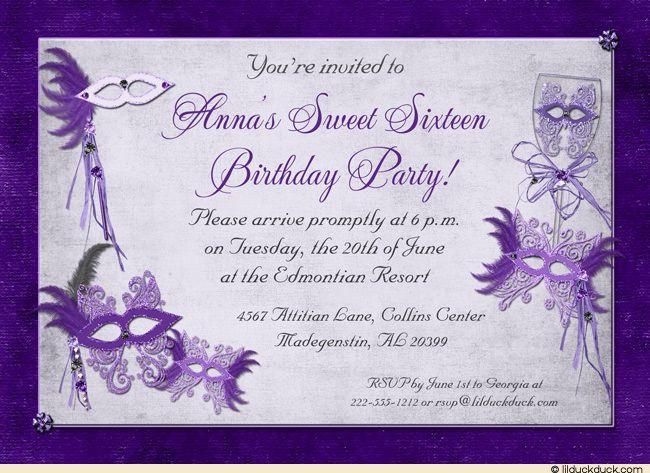 Sweet 16 Masquerade Party Invitations - Purple, Pink Masks | Gala ...