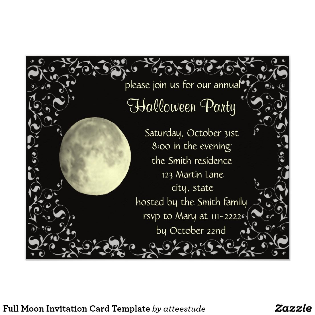 Full Moon Invitation Card Template Zazzle Com Invitation Cards