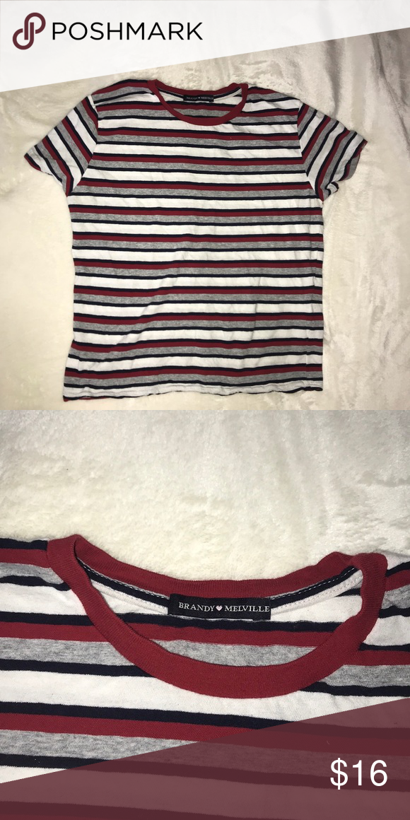 db2dbe02e9 Never worn Brandy Melville tee Brand new red, white, grey, and navy striped  top from Brandy Melville. Jamie Style. One Size. Brandy Melville Tops Tees  ...