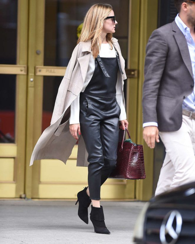 Olivia Palermo in black leather overalls in Brooklyn - June 27, 2016