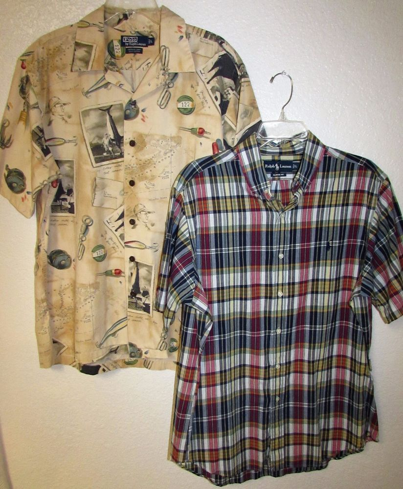 Flannel shirt knot  Ralph Lauren Polo mens Shirt Large L Lot Button Down Camp SS may