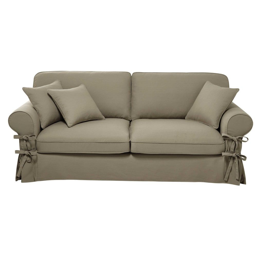 3 4 Seater Cotton Sofa In Taupe Butterfly Maisons Du Monde