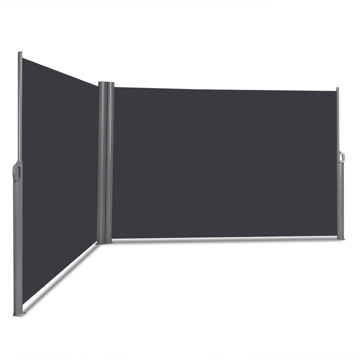 237 X 63 Patio Retractable Double Folding Side Awning Screen Divider Patio Outdoor Window Awnings Garden Privacy Screen