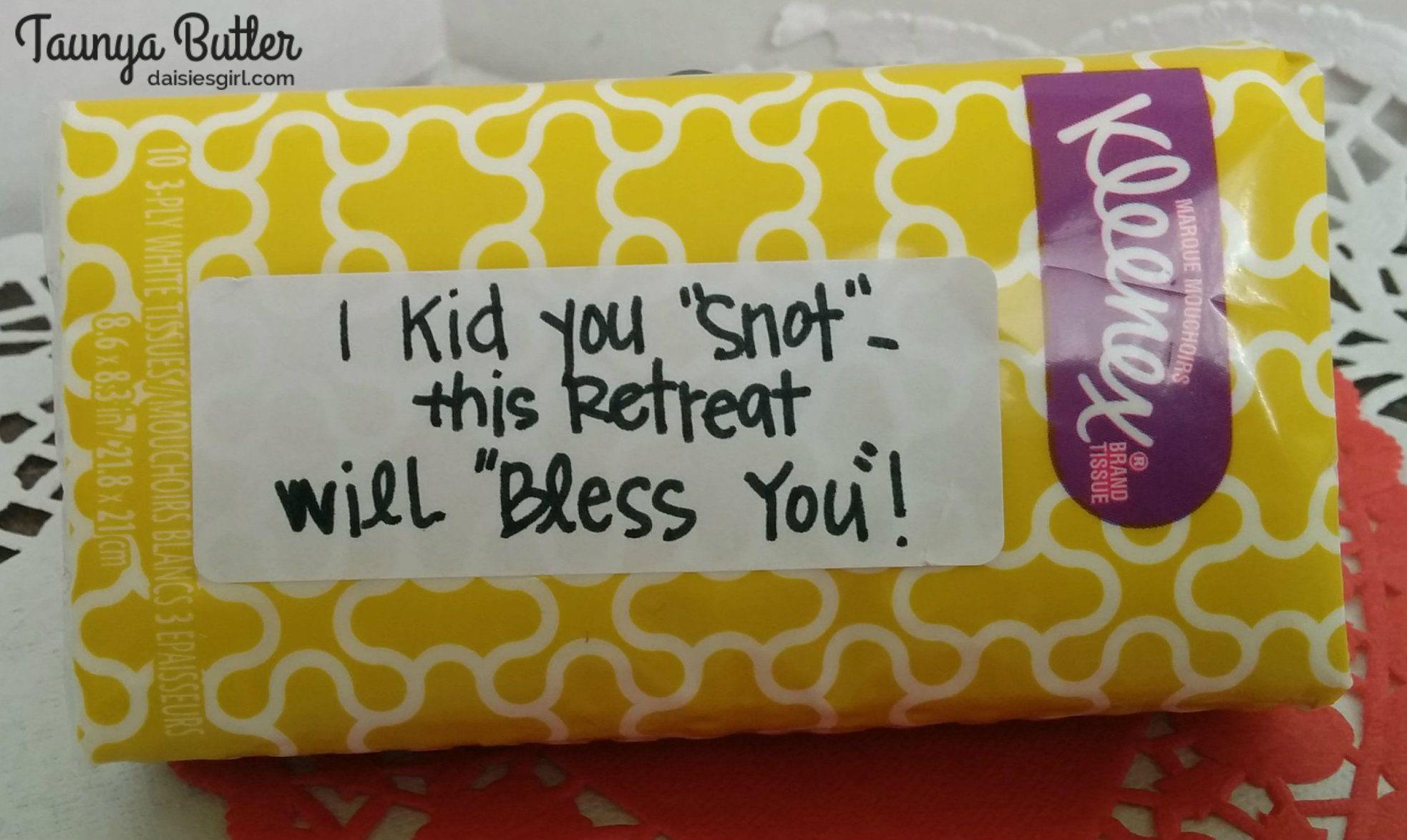 kleenex tissues as a favor for a women u0027s retreat love notes