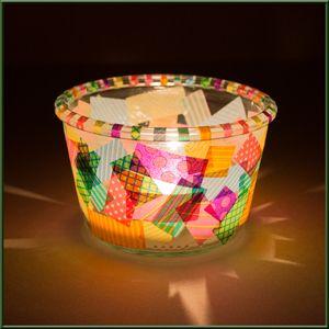 diy windlicht bastelidee windlicht mit masking tape bekleben bastelideen und kostenlose. Black Bedroom Furniture Sets. Home Design Ideas