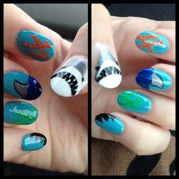 55 Killer Shark Nail Designs Nails Pinterest Shark