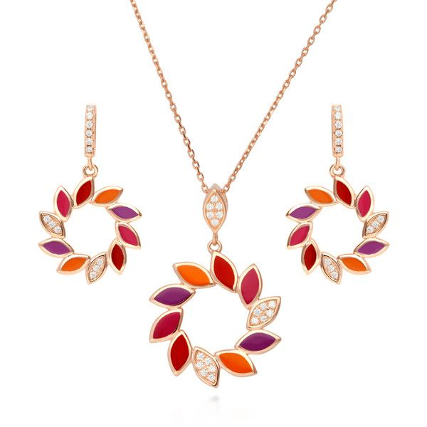 Enamel Rose & Leaves Necklace qzFLHQKTf