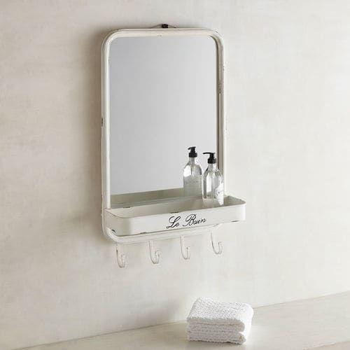 le bain bathroom wall mirror with hooks | pier 1 imports