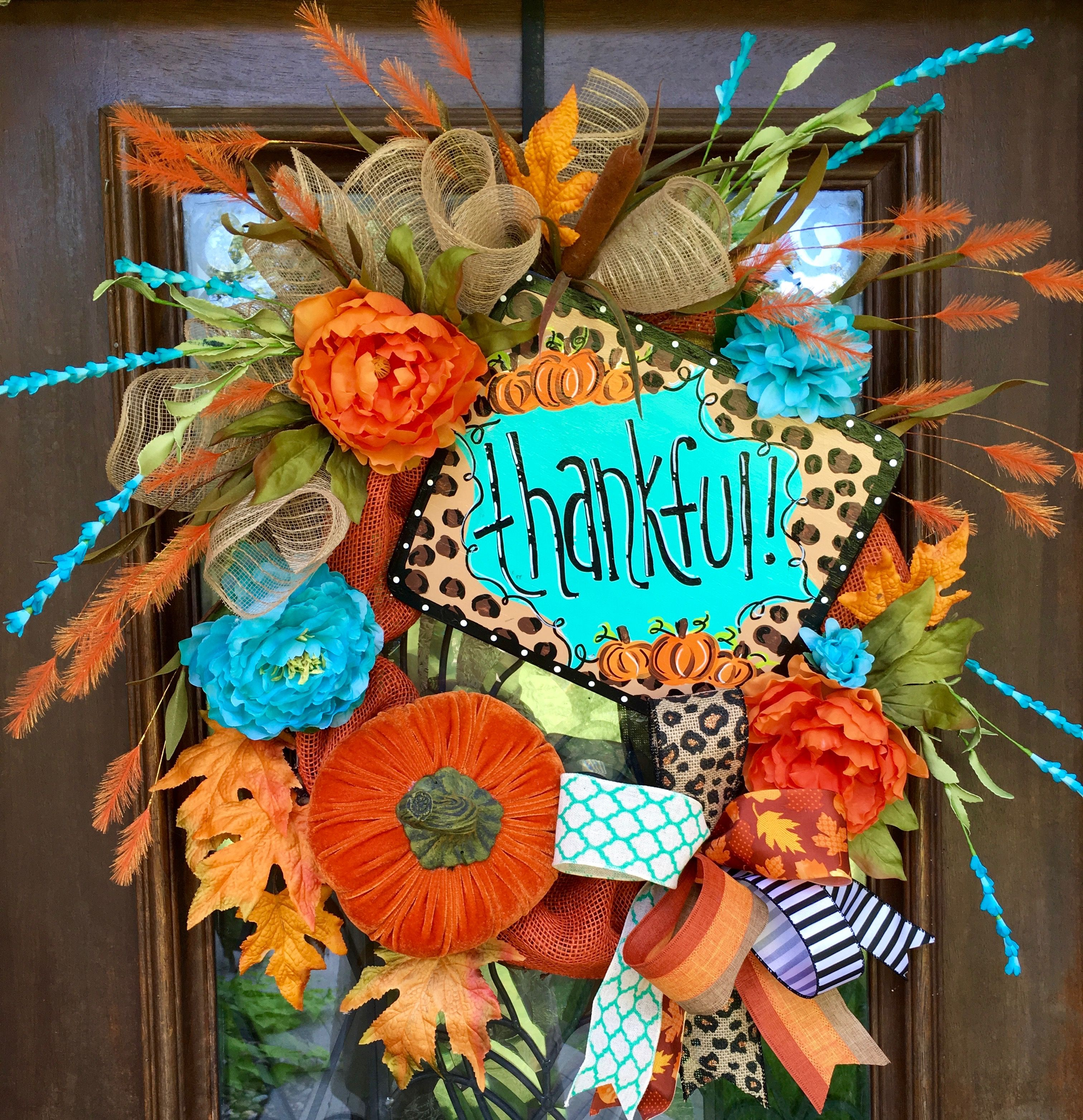 Turquoise and orange Fall, Thanksgiving wreath with velvet pumpkin accent and leopard ribbon