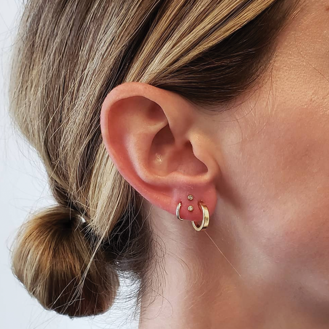 Stacked Lobes In 2020 Earings Piercings Tiny Stud Earrings Body Jewelry