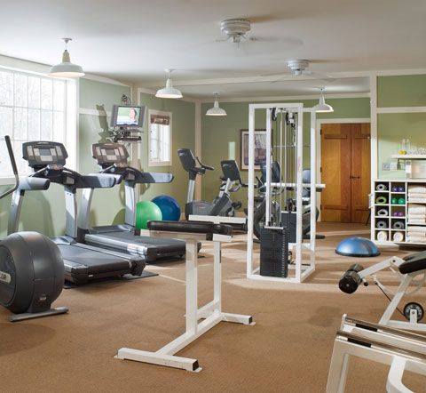 Green Wall Color With White Trim Home Gym Inspiration Green Wall Color At Home Gym