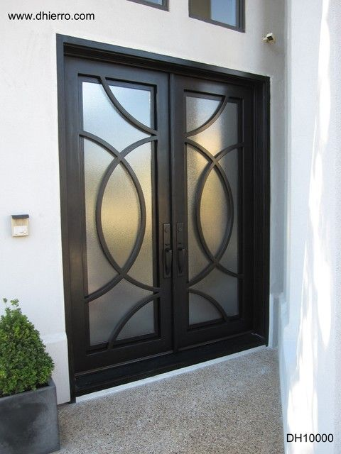 Contemporary iron doors doors modern stainless steel Modern glass exterior doors