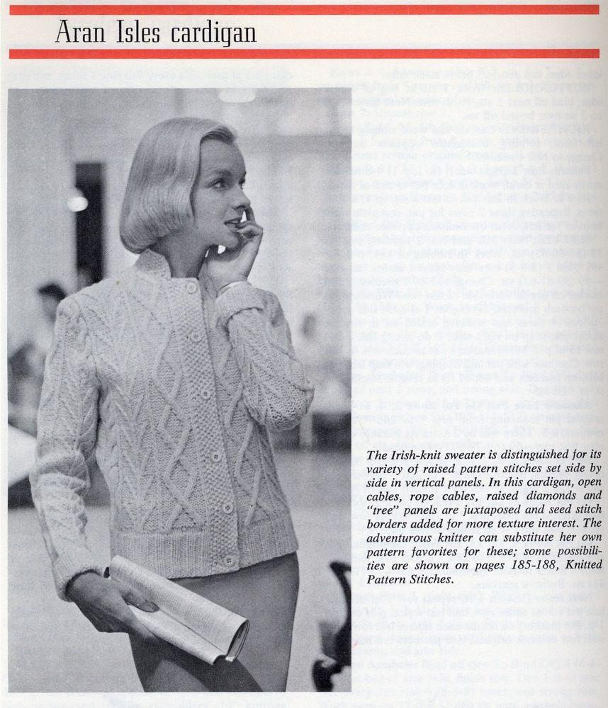 Aran Isles Cardigan Vintage Knit Pattern | винтаж | Pinterest