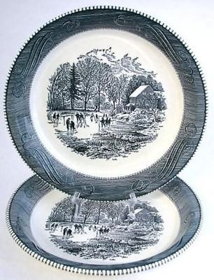 Royal USA Currier Ives Two 10\  Pie Plates Ice Skating   eBay & Royal USA Currier Ives Two 10\