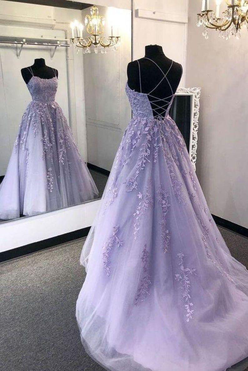 Purple Lace Prom Dress Evening Gown Graduation Par