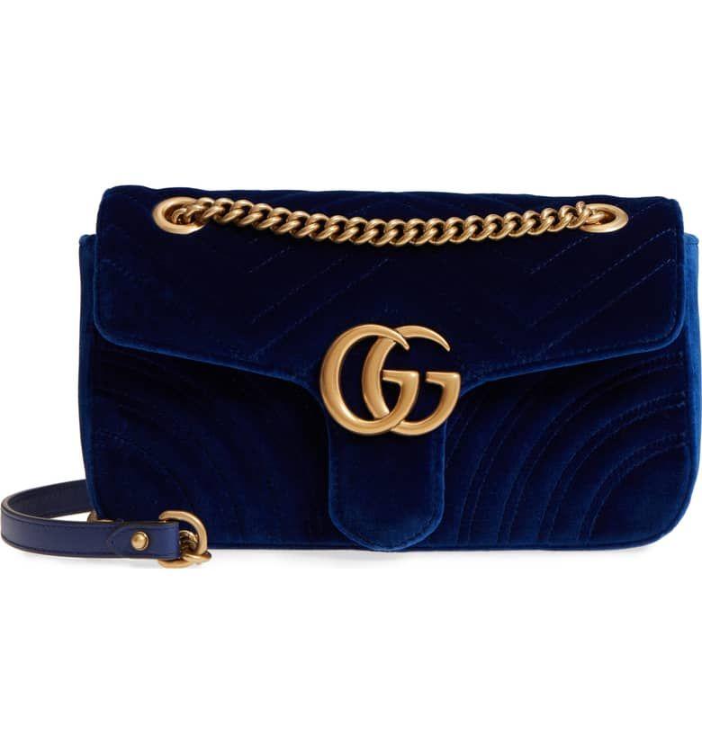 318721685 Medium GG Marmont 2.0 Matelassé Velvet Shoulder Bag, Main, color, Cobalt/  Cobalt
