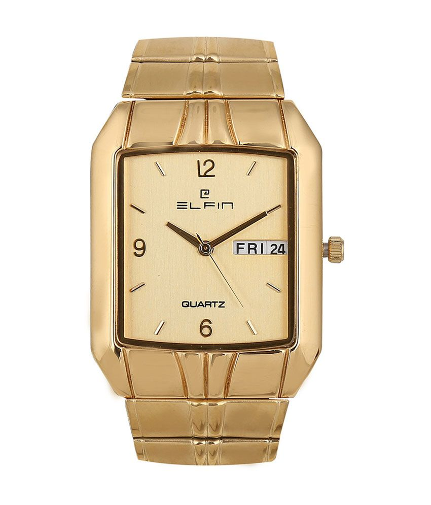 Elfin Gold Dial Watch For Men Elf1013am in India. Deals and discount coupons for Branded watches. Stainless Steel Strap dimension in MM : 24 MM Strap material : Stainless Steel Gender : Men Display : Analog Dial Shape : Rectangular Dial Dimension in MM : 22 MM Wearability : Formal Warranty : 1 Year