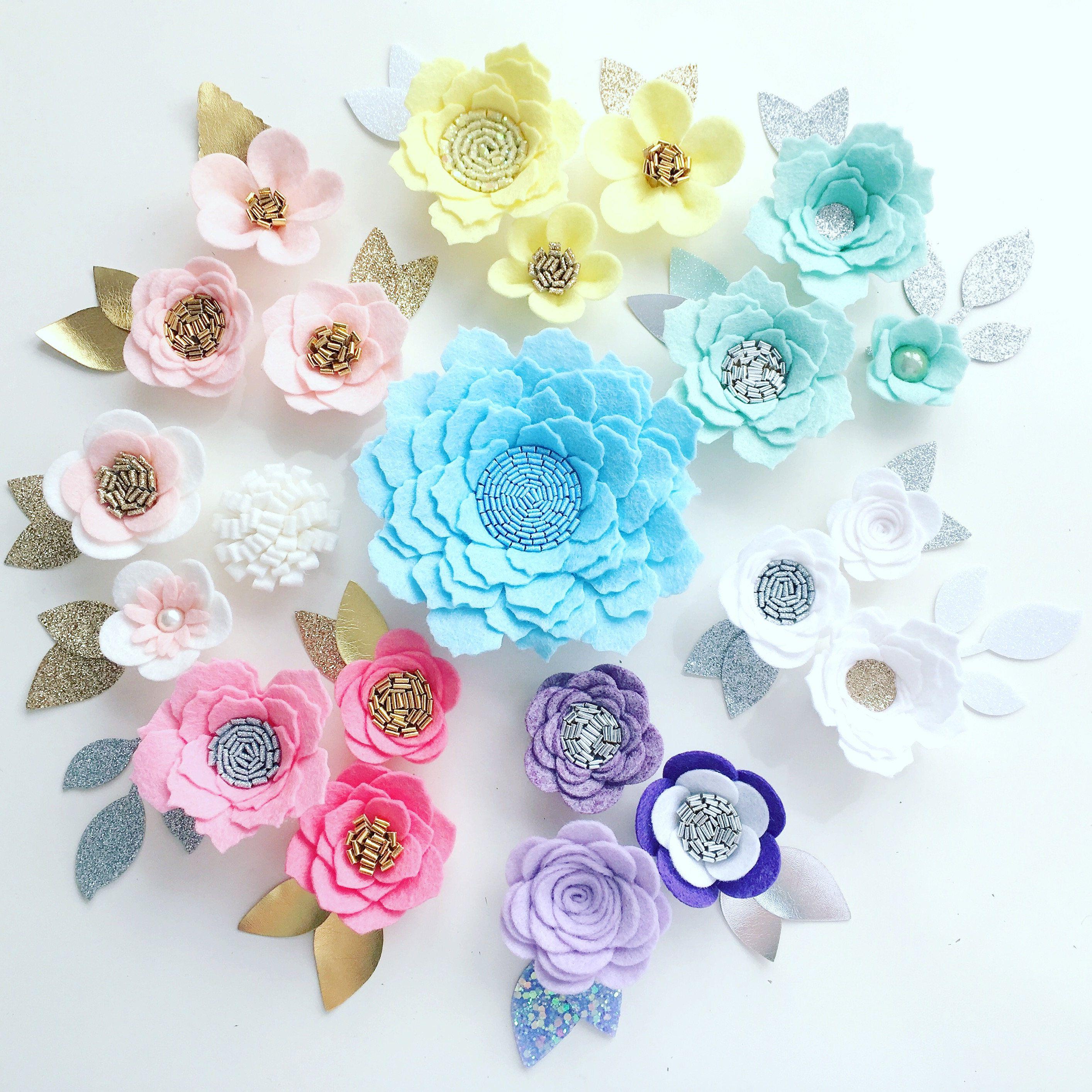 Hand Made Lemon White Pink Felt 3d Flowers Glitter Leaves Felt Flower Crown Flower Headband Flower Garla Felt Flower Wreaths Felt Flowers Handmade Flowers