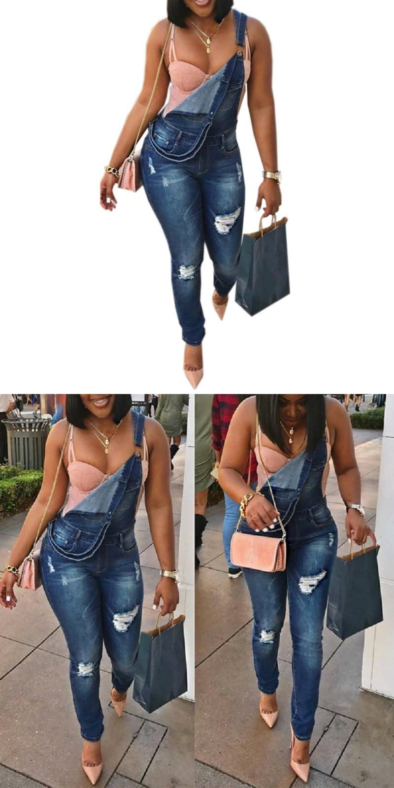 313dcc4486 HU GH 2017 Regular Female Denim Jumpsuit Hole Pckets Gallus Catsuit Fashion  Women Jumpsuits Casual Cute Girl Party Wear WT76075