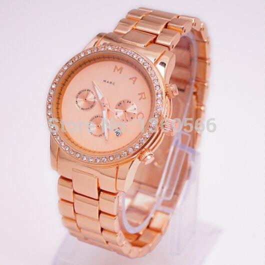 7f79d7e6b0c mulheres marca de luxo relógio mj mbm3105 henry chrono senhora rosa ouro  feminino strass mj relógios