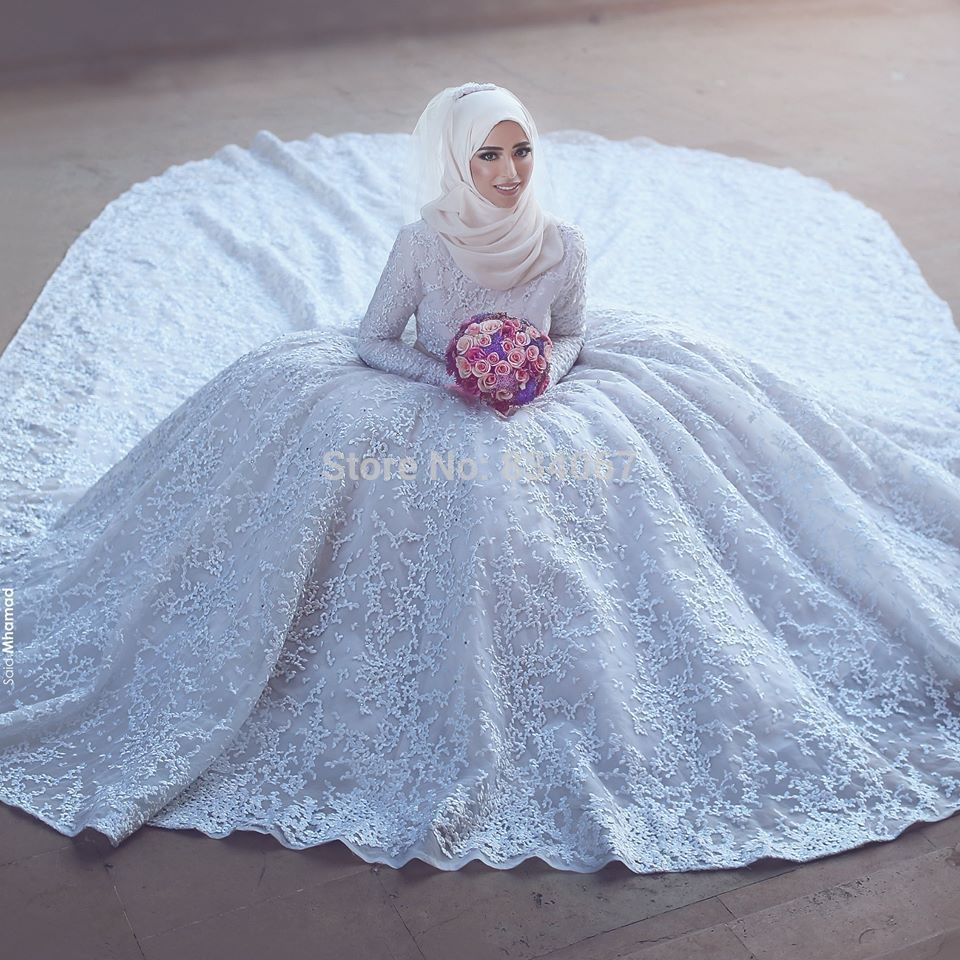 Find More Wedding Dresses Information about Long Sleeve Muslim ...