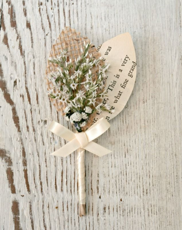 Burlap & Vintage Book Page Boutonniere with Mixed White Dried Flowers NO BURLAP but cute otherwise