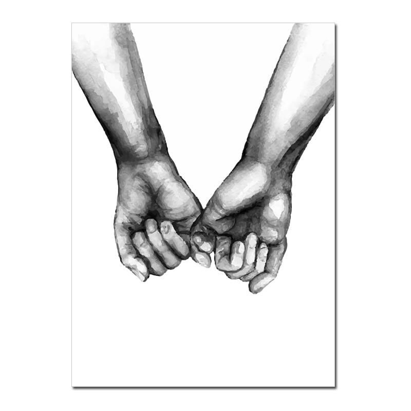 Love Is The Answer Nordic Style Black White Canvas Prints Hand In Hand – NordicWallArt.com