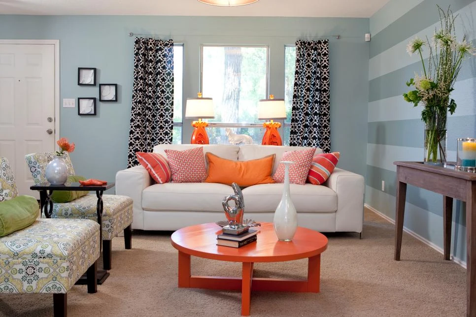 Decorating With Accent Colors Home Decor Accessories To Go With Your Wall Paint In 2020 Blue And Orange Living Room Living Room Orange Blue Walls Living Room #orange #accessories #for #the #living #room