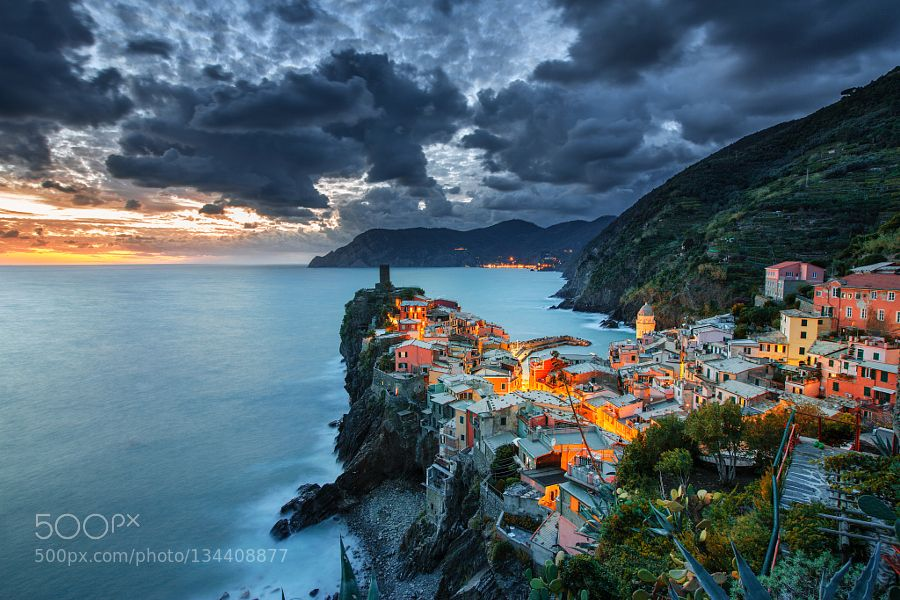 Twilight in Vernazza by ilhan1077. Please Like http://fb.me/go4photos and Follow @go4fotos Thank You. :-)