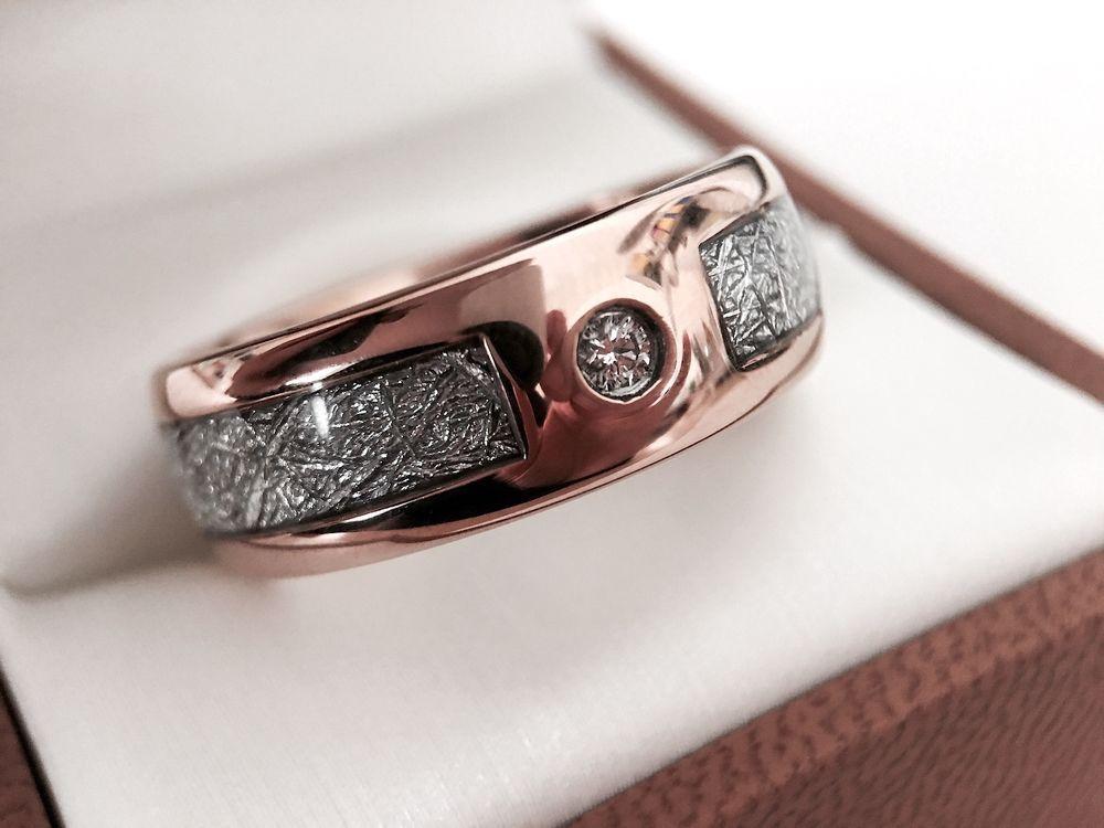 Rose Gold Meteorite Ring With White Diamond Stone Setting Meteorite Ring Rose Gold Wedding Band Diamond Rings For Men Mens Wedding Bands