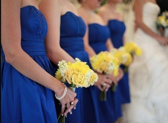 Wedding dresses in royal blue with yellow