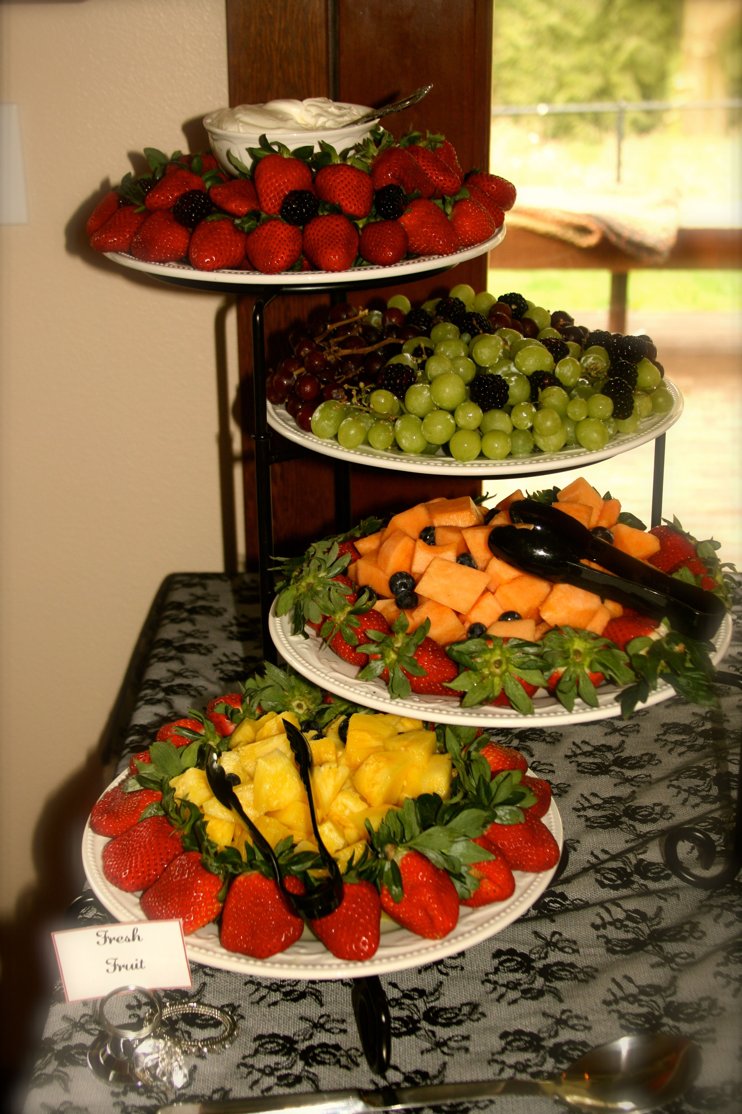 Tiered Fruit tray | Fruit dishes, Fruit tray, Party platters