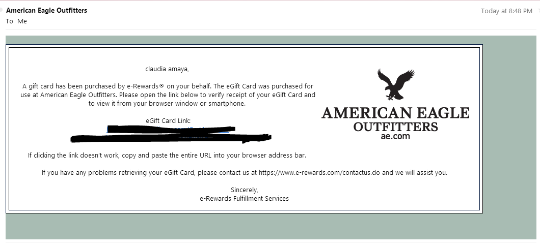 Earned Myself Another 25 American Eagle Outfitters Gift Card At E