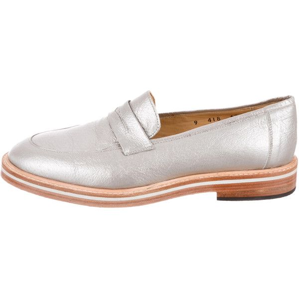 Pre-owned Dieppa Restrepo Metallic Round-Toe Loafers ($85) ❤ liked on
