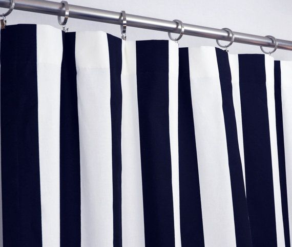 Wide Navy And White Stripe Curtain Panel Striped Curtains Rod