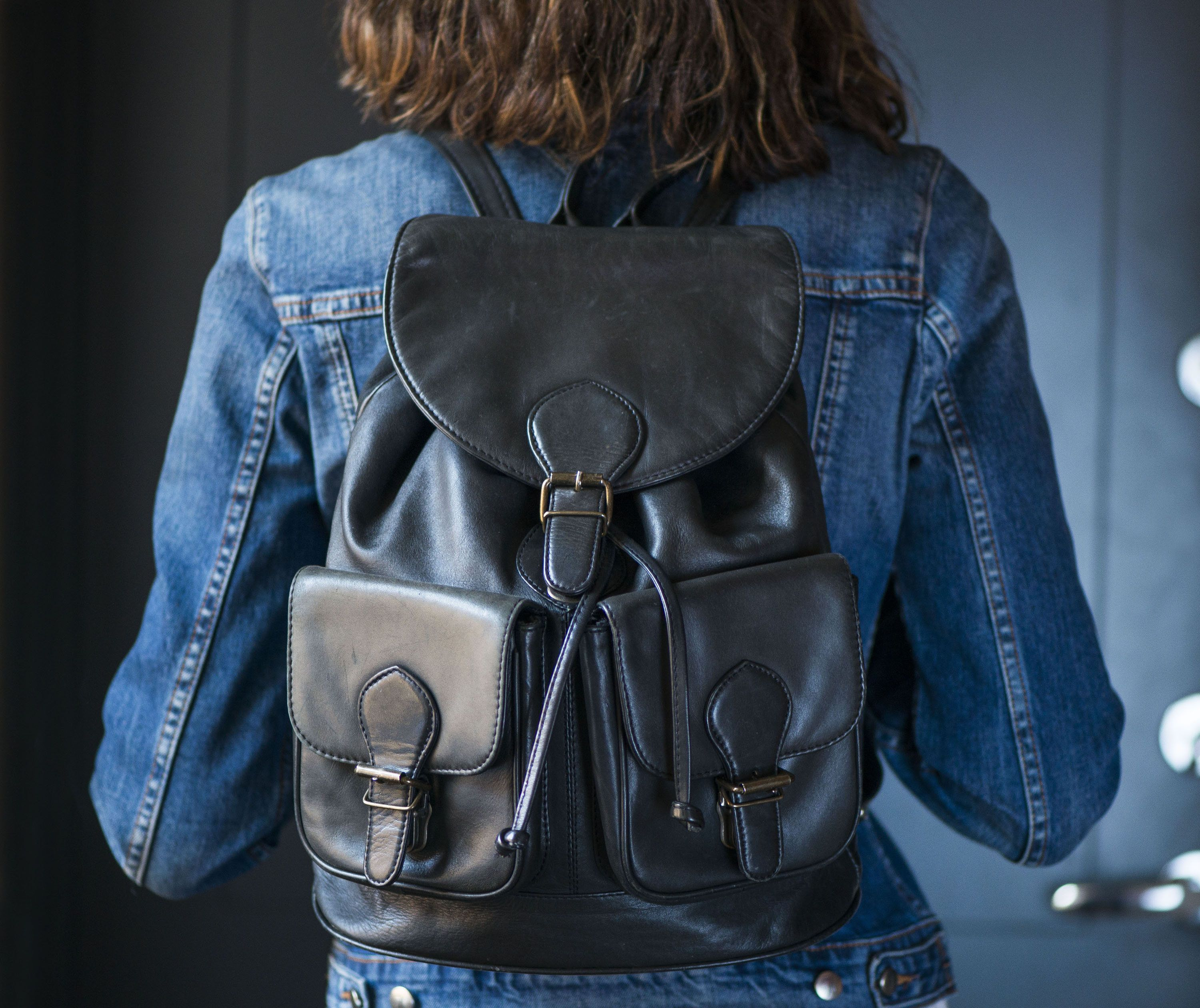 Brown faux leather backpack vintage women backpack