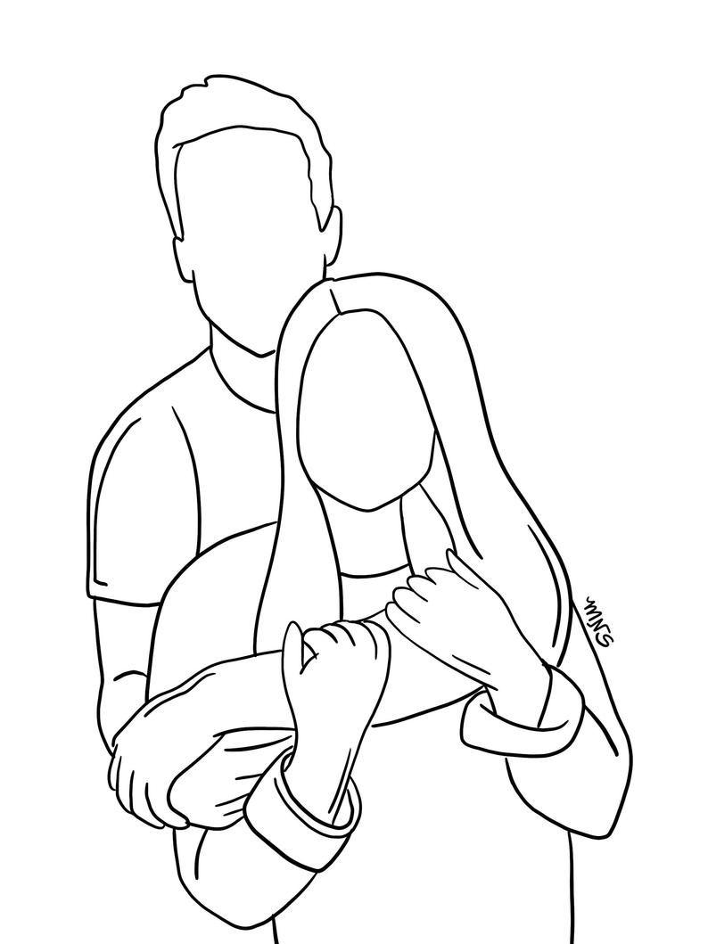 Paar Umriss ein bis zwei Personen Umriss Zeichnung zwei | Etsy