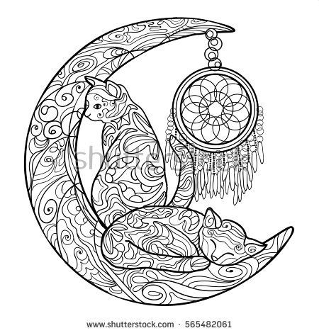 Kitty Crescent Moon With Dreamcatcher Moon Coloring Pages Cat
