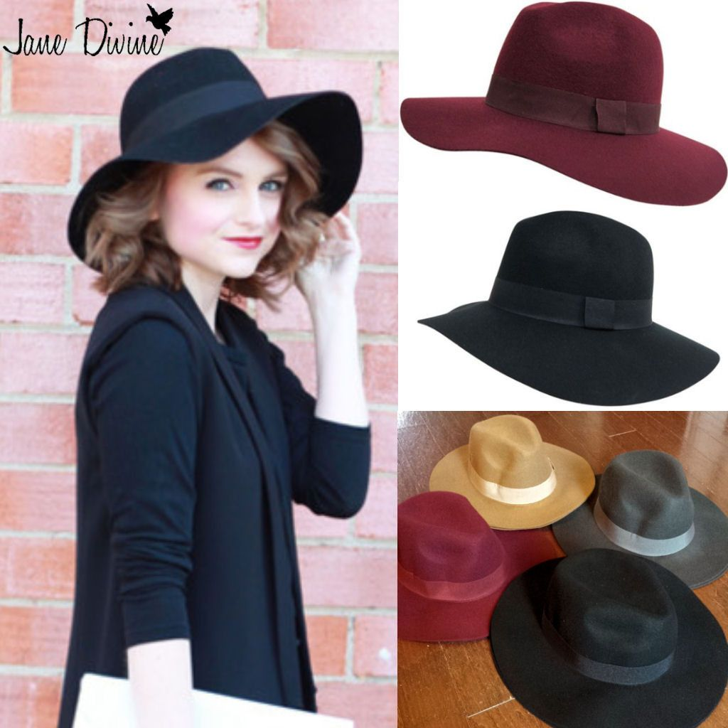 011d8d3011f Fall Fashion Floppy Wool Felt Panama Fedora Hat in Black Grey Burgundy and  Camel by Jane Divine Boutique www.janedivine.com